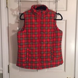 Basic Editions NWOT red plaid vest